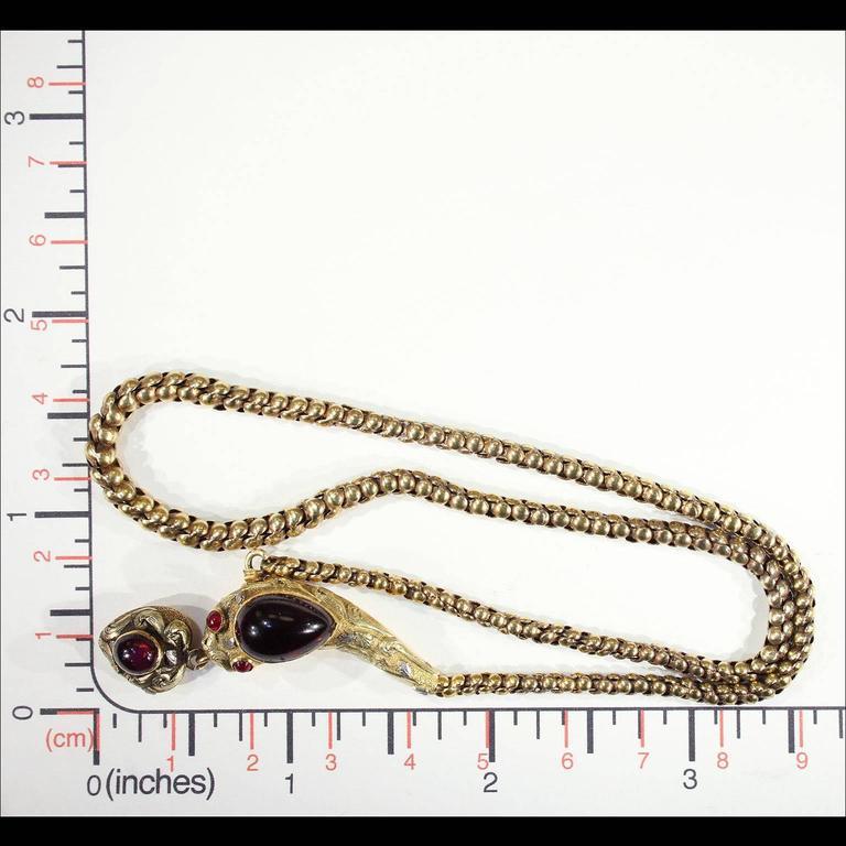 Antique Victorian Garnet Gold Snake Necklace  For Sale 2