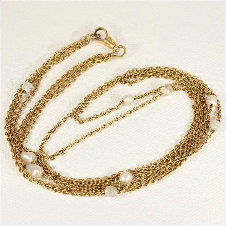 Late Victorian Victorian Pearl Triple Chain Gold Necklace  For Sale