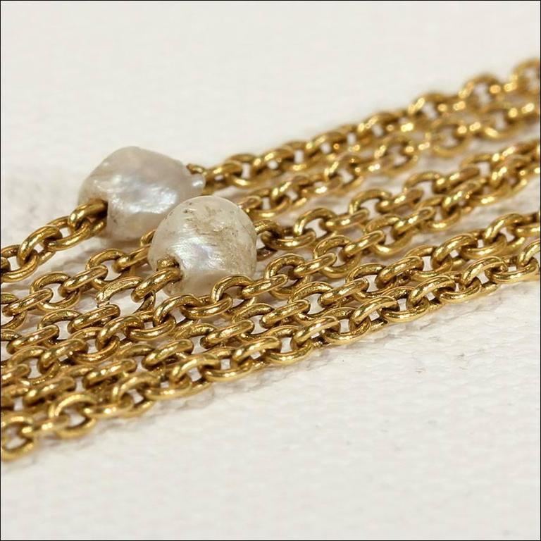 Victorian Pearl Triple Chain Gold Necklace  In Excellent Condition For Sale In Middleton, WI
