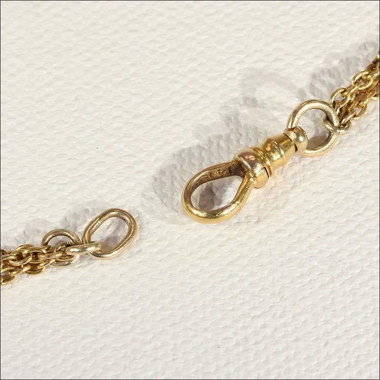 Women's Victorian Pearl Triple Chain Gold Necklace  For Sale
