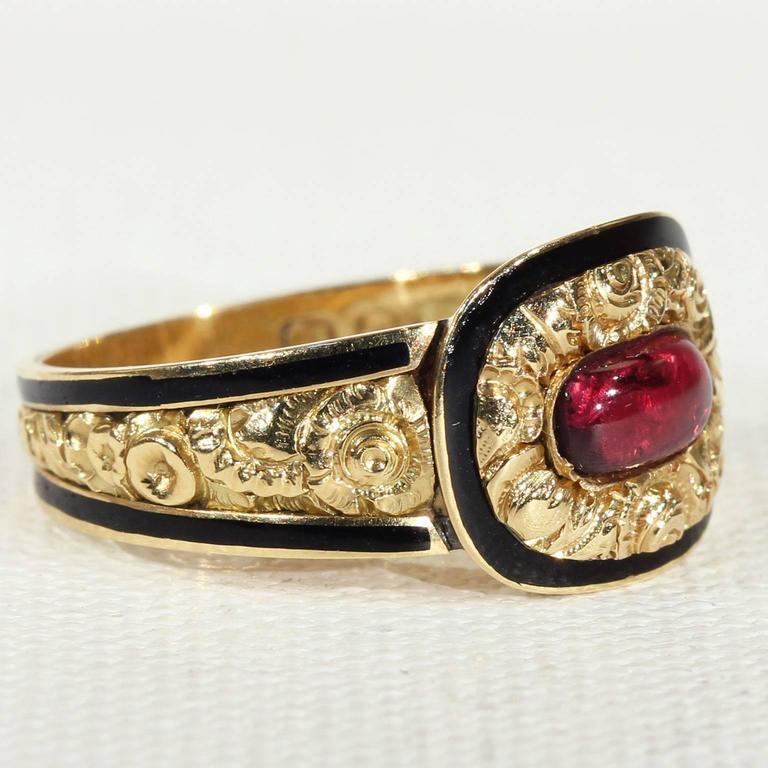 Georgian Garnet Black Enamel Gold Memorial Ring 2