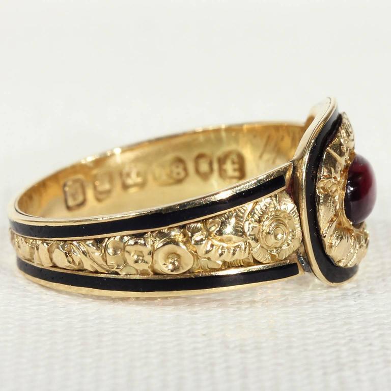 Georgian Garnet Black Enamel Gold Memorial Ring 3