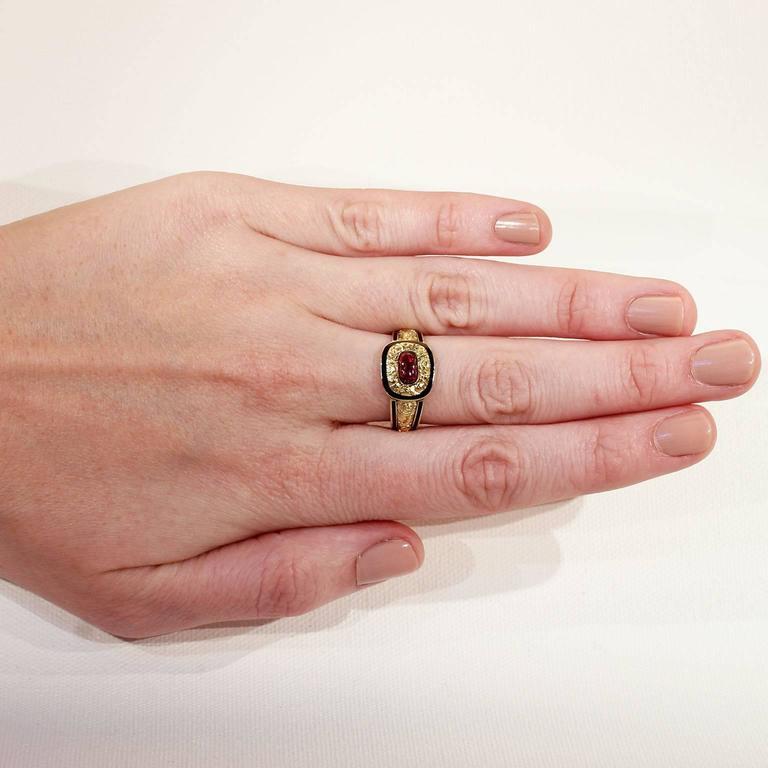 Georgian Garnet Black Enamel Gold Memorial Ring 4