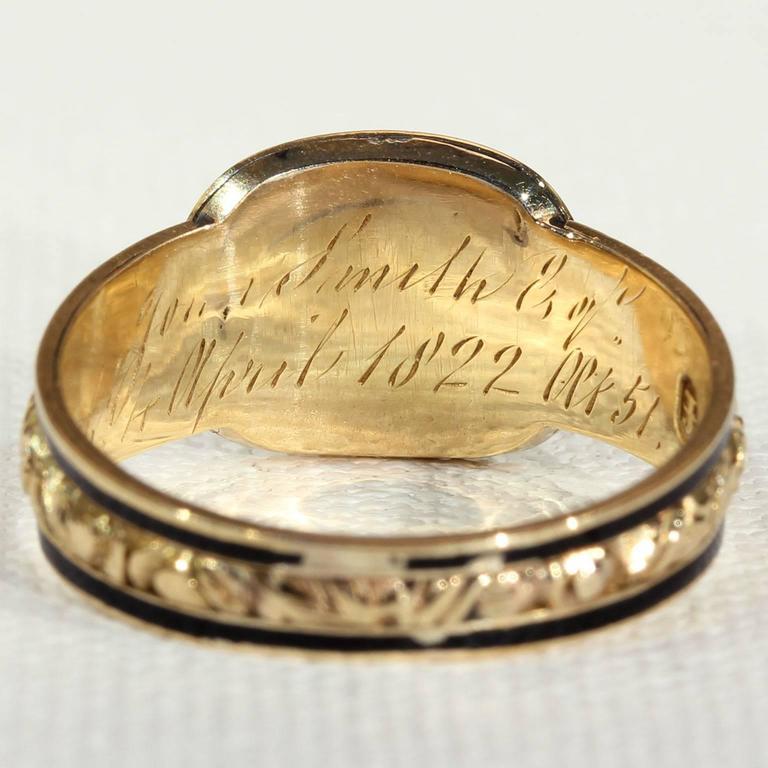 Georgian Garnet Black Enamel Gold Memorial Ring 5