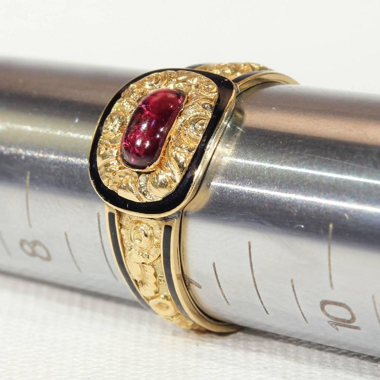 Georgian Garnet Black Enamel Gold Memorial Ring 7