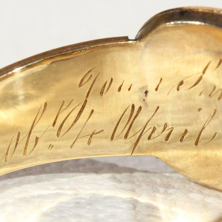 Georgian Garnet Black Enamel Gold Memorial Ring 9