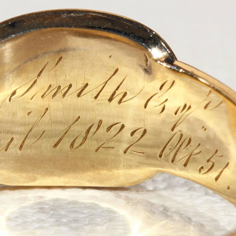 Georgian Garnet Black Enamel Gold Memorial Ring 10