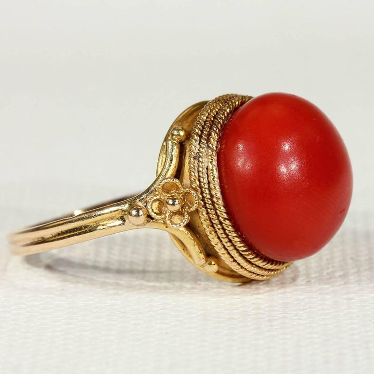 Antique Victorian Etruscan Revival Red Coral Gold Ring  2