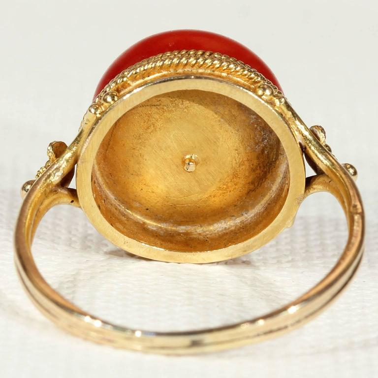 Antique Victorian Etruscan Revival Red Coral Gold Ring  4