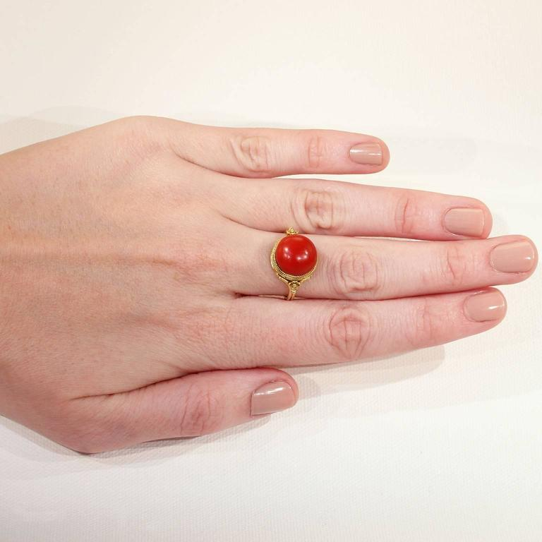 Antique Victorian Etruscan Revival Red Coral Gold Ring  5