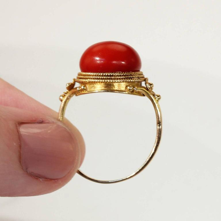 Antique Victorian Etruscan Revival Red Coral Gold Ring  7