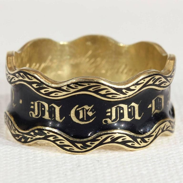 Antique British Victorian 1848 Black Enamel Gold Memorial Ring  2