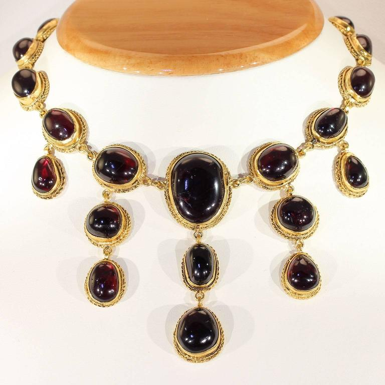 Austro-Hungarian Carbuncle Garnet Necklace Silver Gilt  3