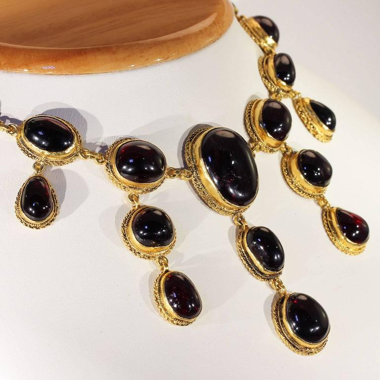Austro-Hungarian Carbuncle Garnet Necklace Silver Gilt  5