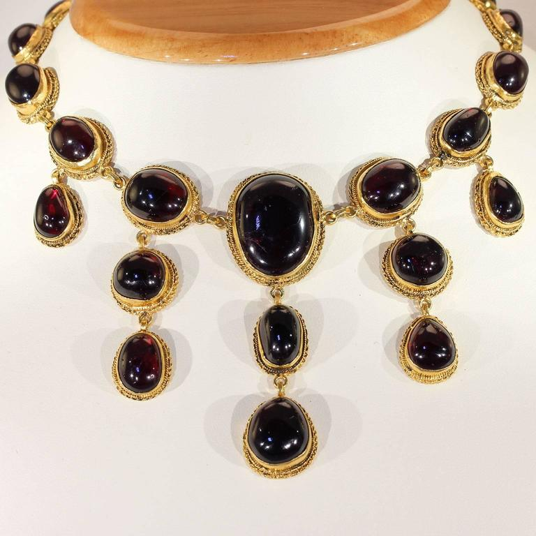 Austro-Hungarian Carbuncle Garnet Necklace Silver Gilt  4