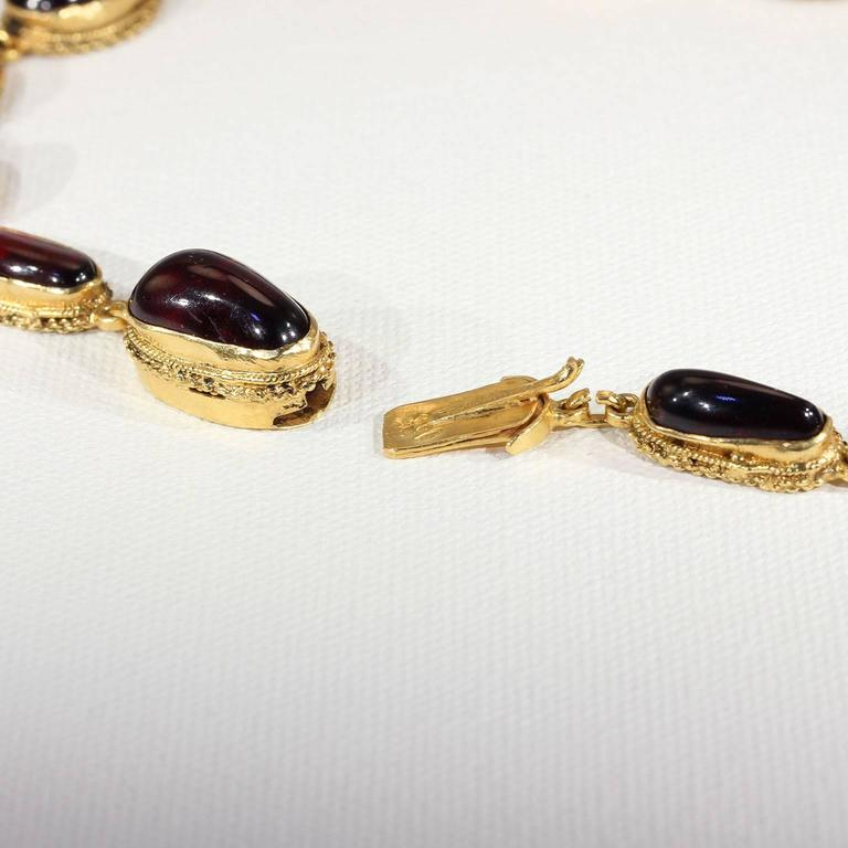 Austro-Hungarian Carbuncle Garnet Necklace Silver Gilt  8