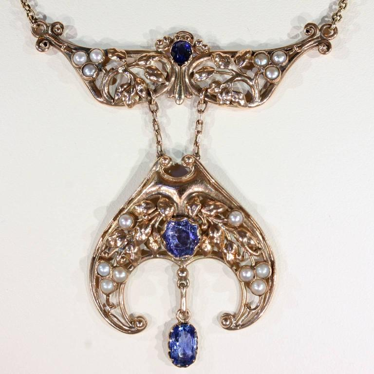 Arts and crafts sapphire pearl gold necklace by artificers for Arts and crafts for sale