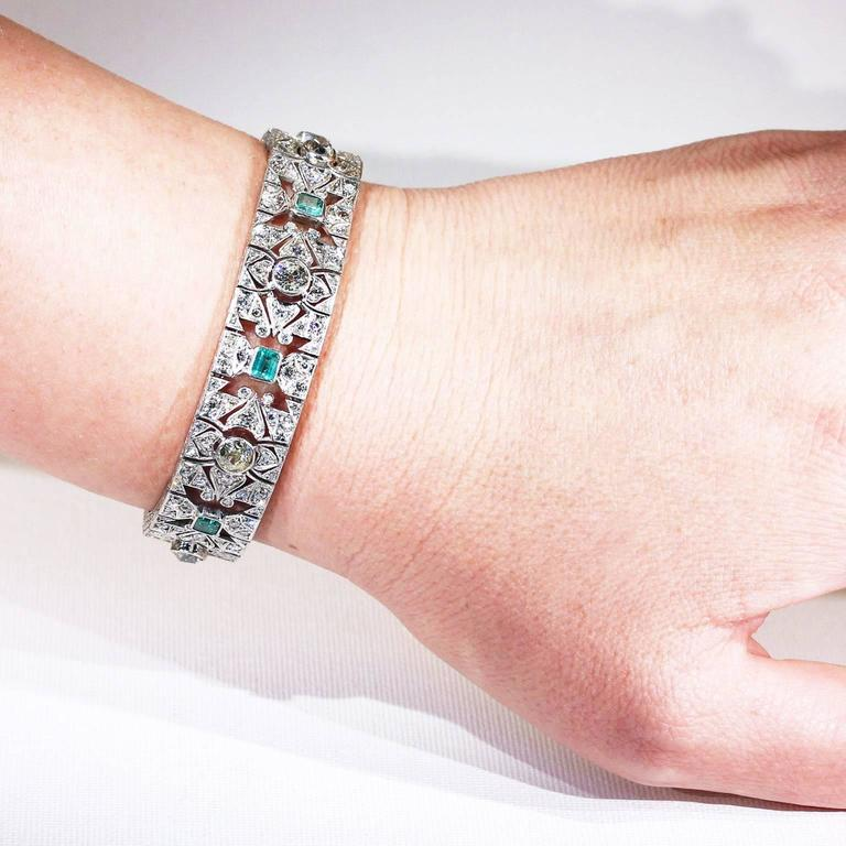 Art Deco Diamond Emerald Platinum Bracelet 4