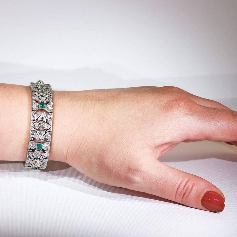 Art Deco Diamond Emerald Platinum Bracelet 5