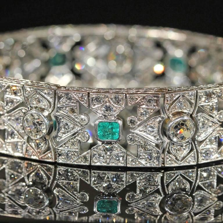 Art Deco Diamond Emerald Platinum Bracelet 6