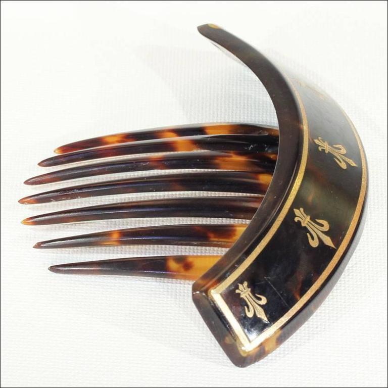 Victorian Tortoise Fleur-de-Lis Pique Comb 2