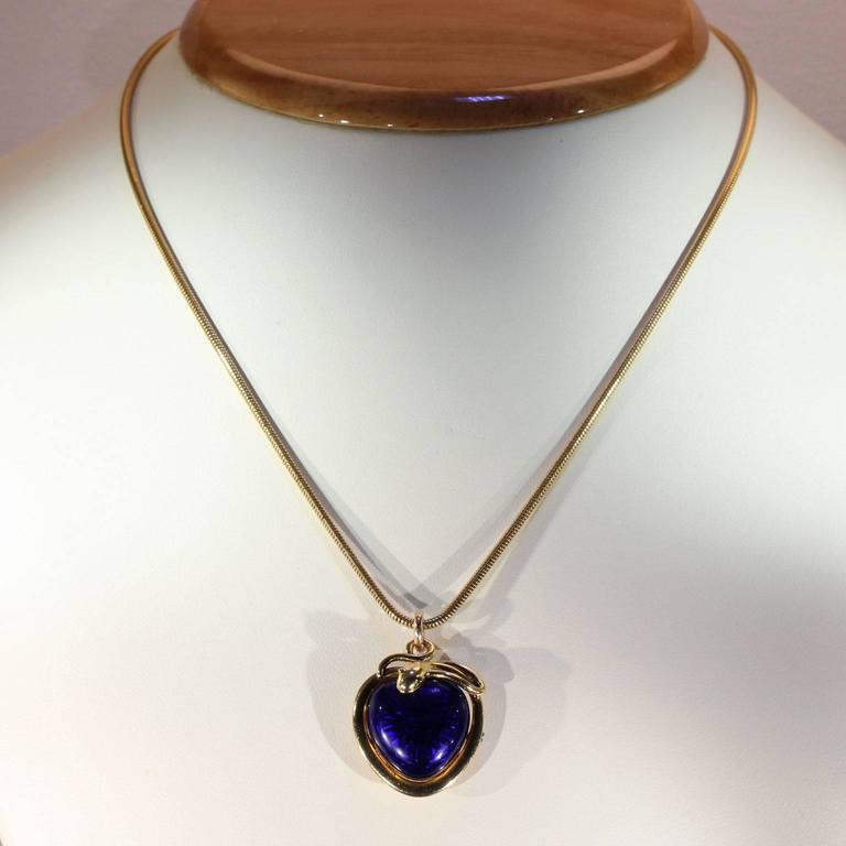Victorian Blue Enamel Snake Heart Pendant Necklace, 1851 In Excellent Condition For Sale In Middleton, WI