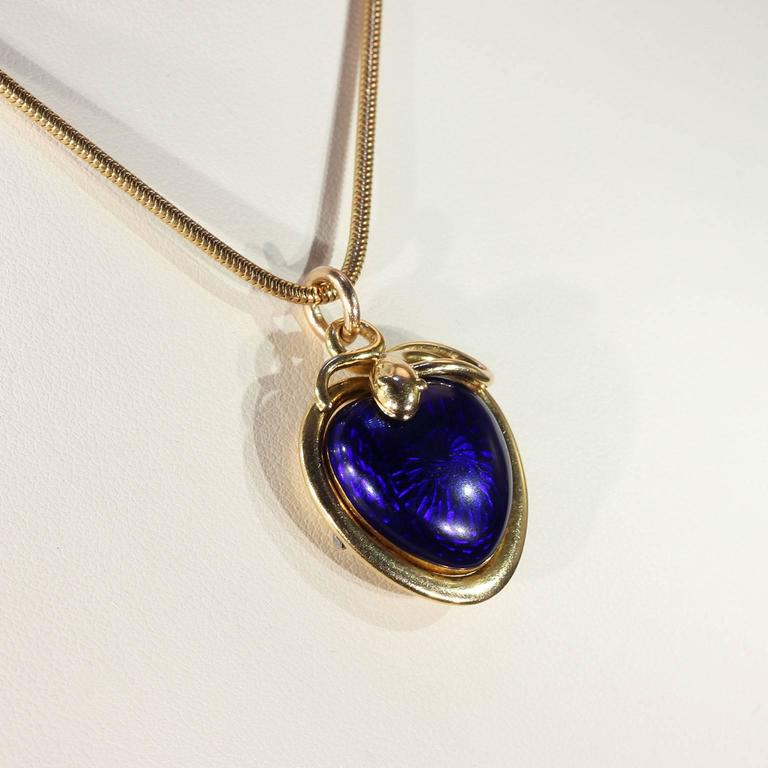 Victorian Blue Enamel Snake Heart Pendant Necklace, 1851 4