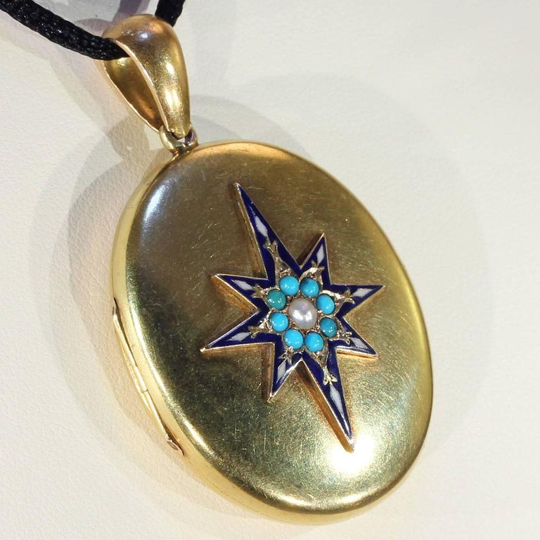 Victorian Enamel Pearl Turquoise Gold Locket In Excellent Condition For Sale In Middleton, WI