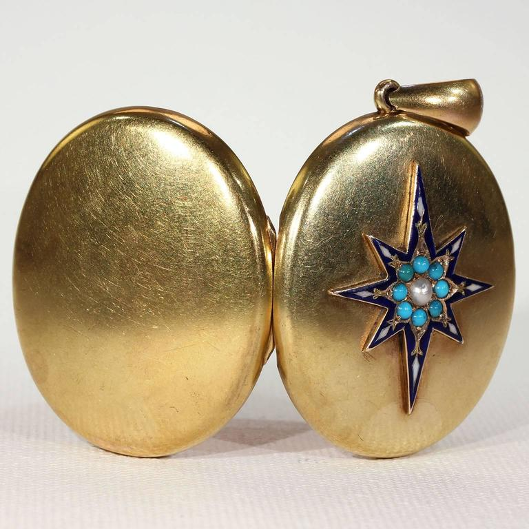 Victorian Enamel Pearl Turquoise Gold Locket For Sale 1