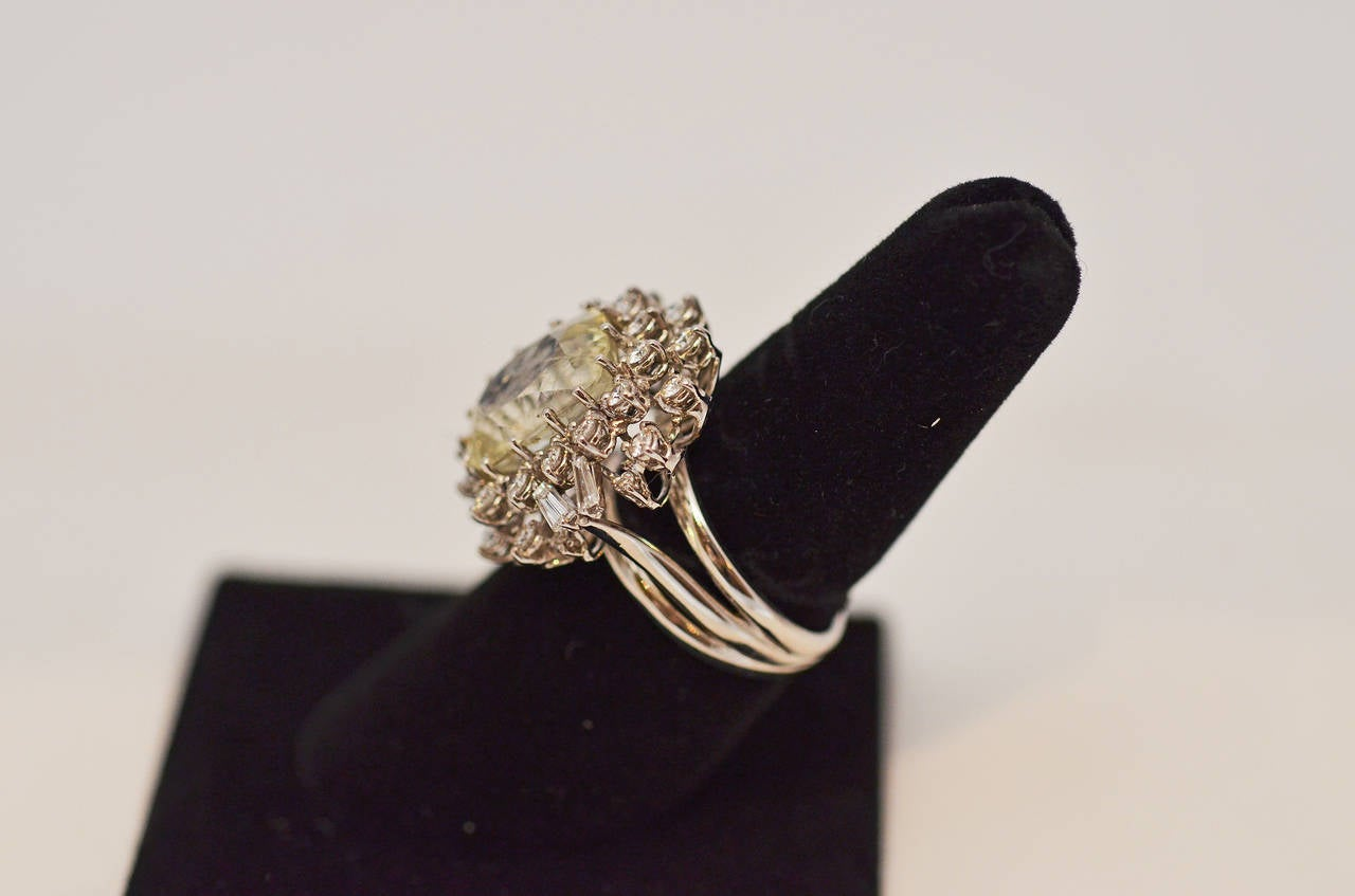 Fabulous Yellow Sapphire and Diamond Gold Ring In Excellent Condition For Sale In New Orleans, LA