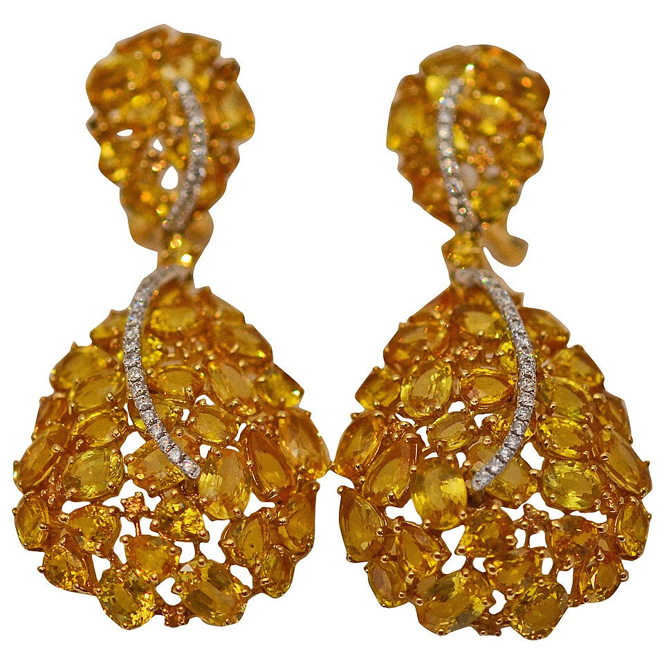 Yellow Sapphire Diamond Gold Earrings