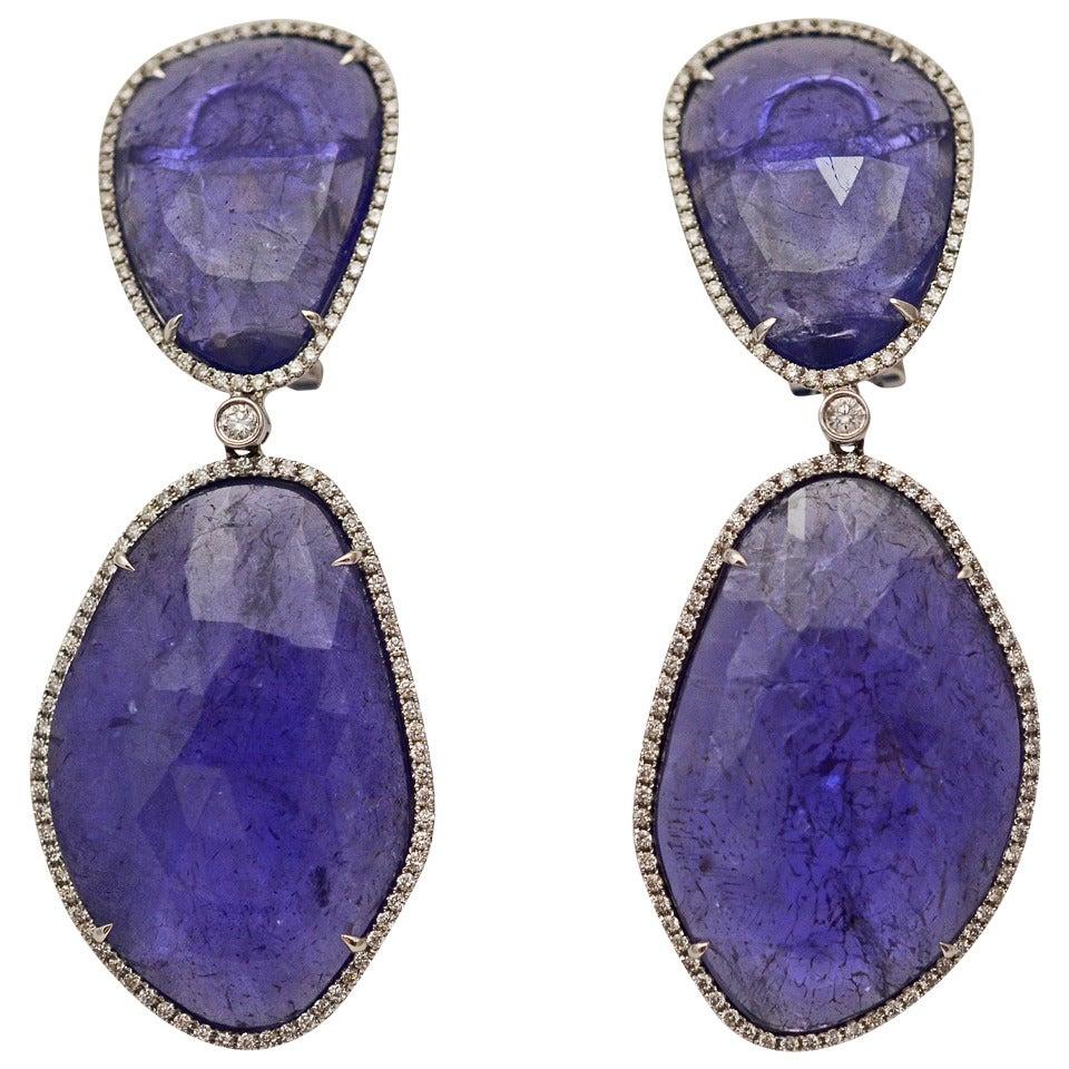 Tanzanite and Diamond Earrings 1