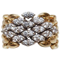 18k Diamond and Gold Flexible Band Ring