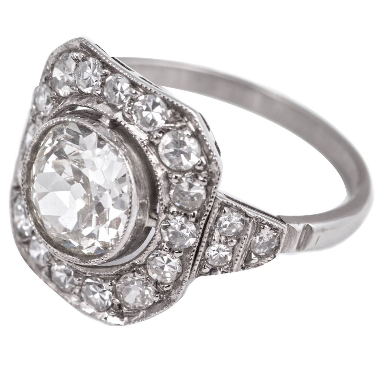 Art Deco 1.80 Carat Diamond Platinum Ring For Sale