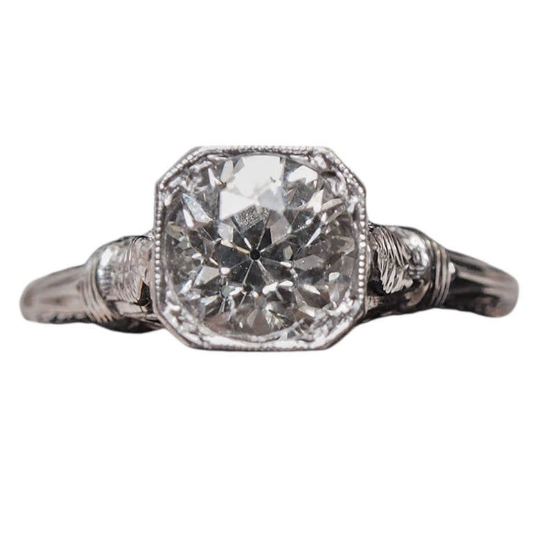 Art Deco Old European Cut Diamond Gold Ring