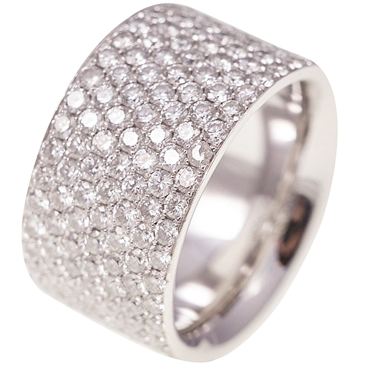 Wide pave diamond platinum eternity band at 1stdibs