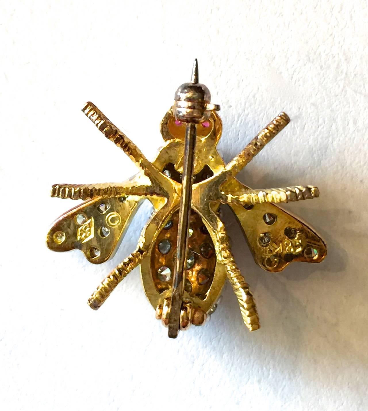 Rosenthal Ruby Diamond Gold Bee Pin 2