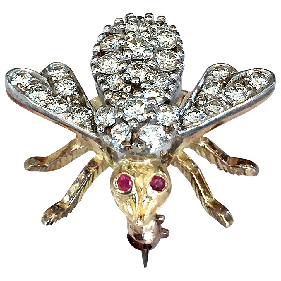 Rosenthal Ruby Diamond Gold Bee Pin For Sale