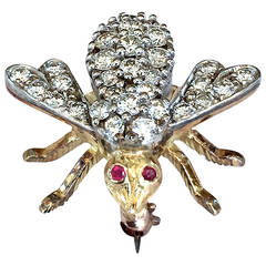 Rosenthal Ruby Diamond Gold Bee Pin