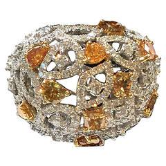 Fabulous Yellow and White Diamond Ring