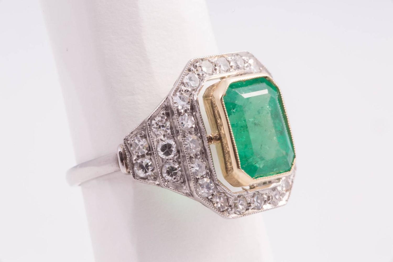 beautiful deco emerald gold platinum ring at