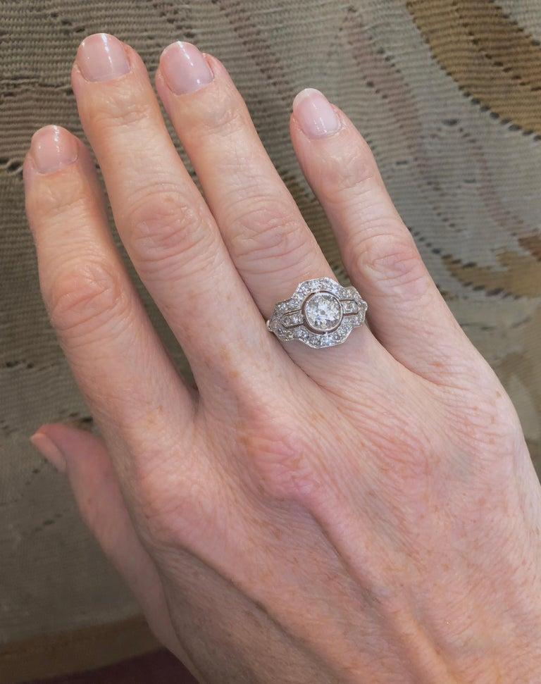 Art Deco Diamond Platinum Ring For Sale 1