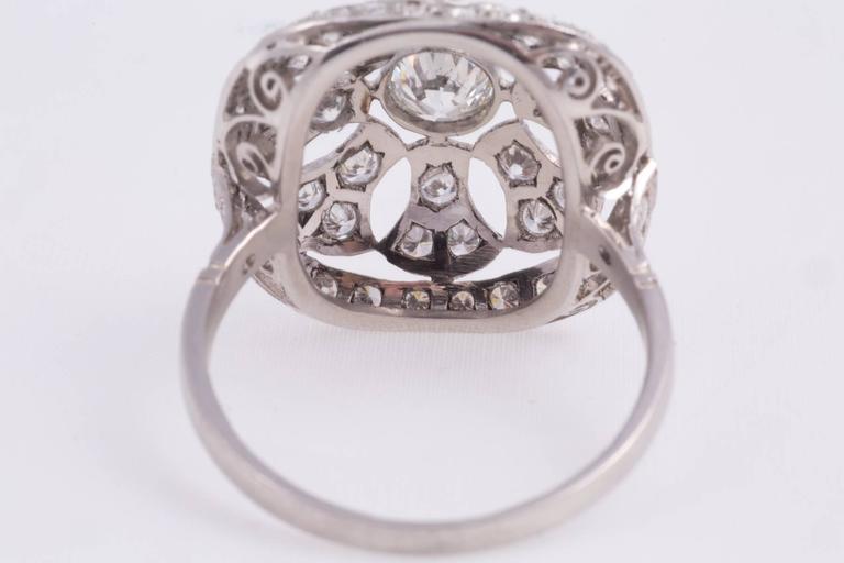 Old European Cut 1940s Art Deco Diamond Platinum Filigree Ring For Sale