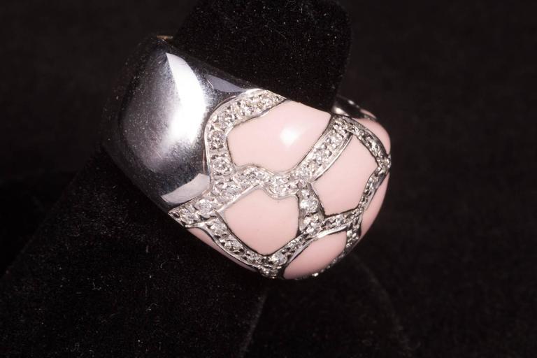 Contemporary Roberto Coin Pink Enamel Pavé Diamond Gold Ring For Sale