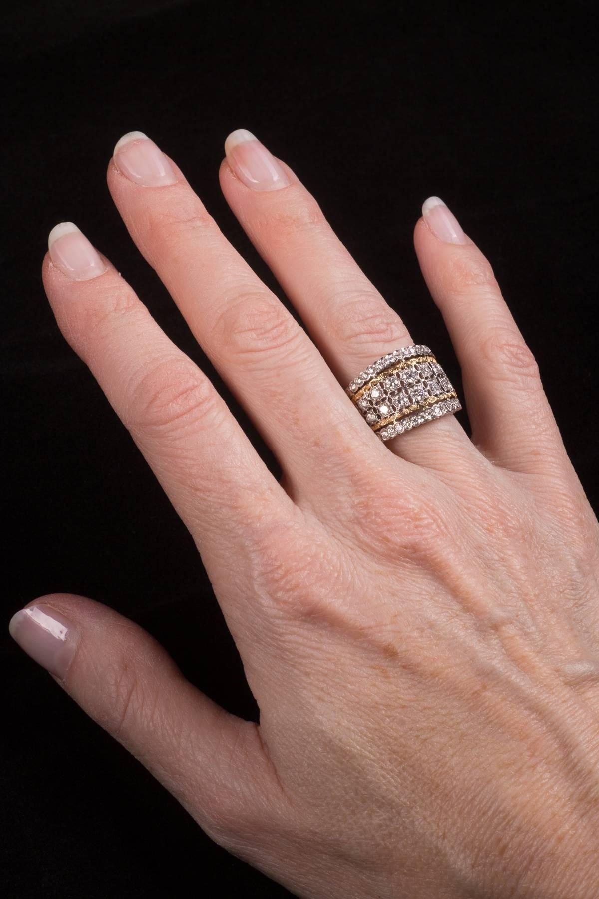 Fabulous Mario Buccellati Diamond Two Color Gold Ring at 1stdibs