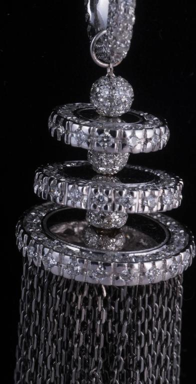 Women's or Men's Magnificent White Diamond Gold Tassel Necklace For Sale