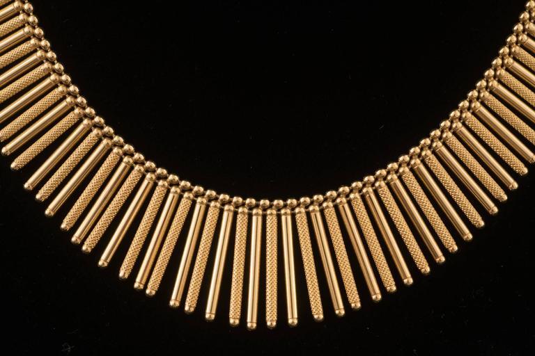 Post-War Fabulous Italian Gold Fringe Necklace For Sale