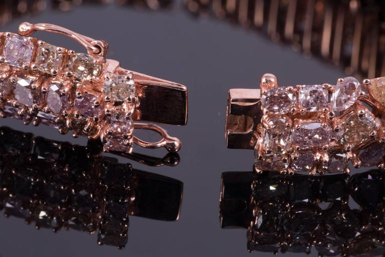 Magnificent Pink Diamond Rose Gold Bracelet In Excellent Condition For Sale In New Orleans, LA