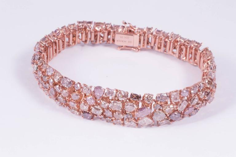 Women's Magnificent Pink Diamond Rose Gold Bracelet For Sale