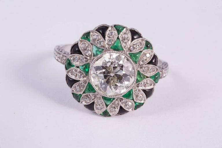 Fabulous Diamond Emerald Onyx Ring 2